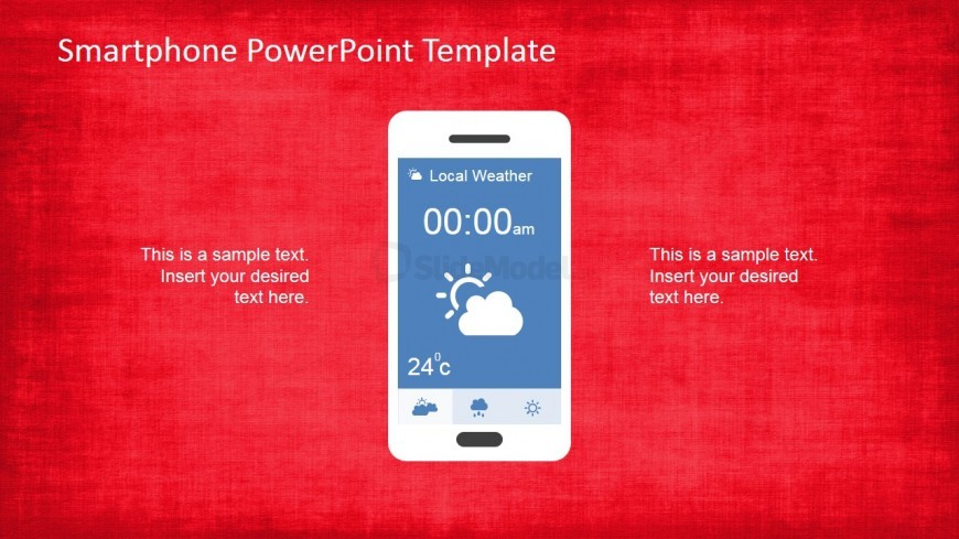 PowerPoint Smartphone with Clock Application Slide