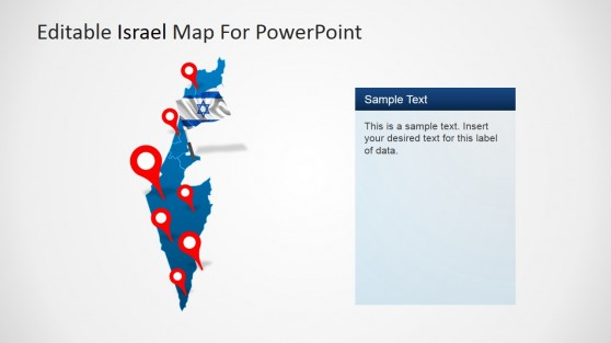 Map of Israel GPS Markers and Flag