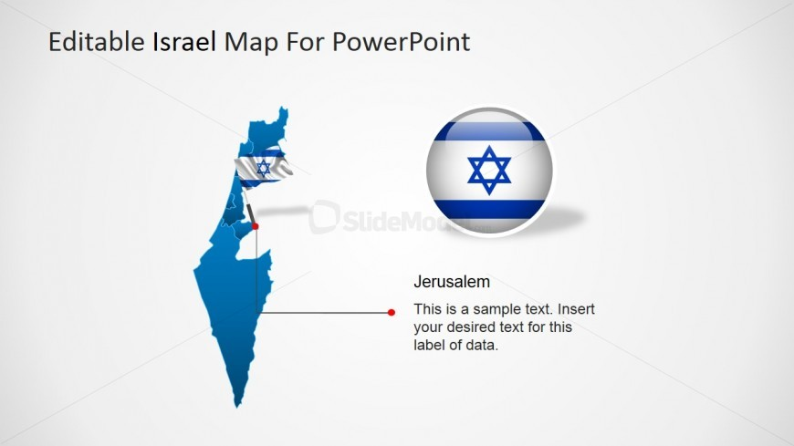 PowerPoint Map of Israel with Flag