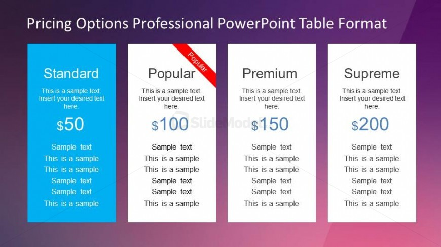 Professional Pricing Options Powerpoint Template  Slidemodel