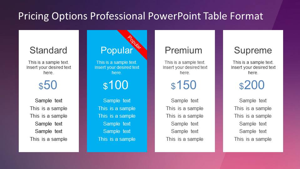 Flat Design Pricing Options Table for PowerPoint