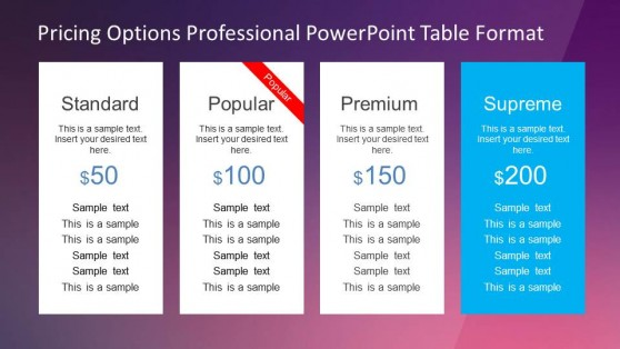 Four Product Pricing Options Table PowerPoint Template