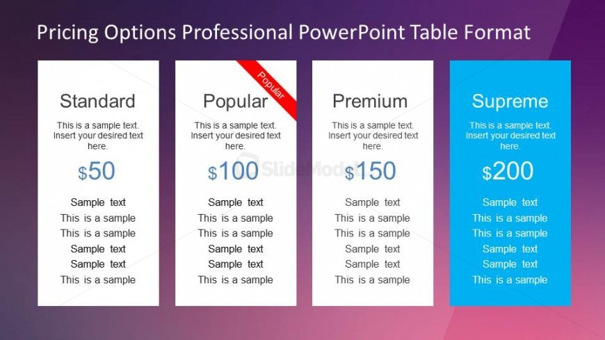 Four product pricing options table powerpoint template for Table options