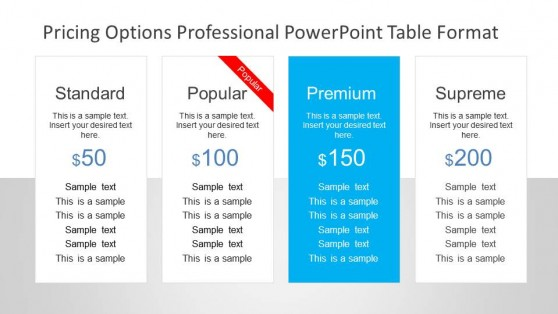 Professional Web Style Pricing Options Table for PowerPoint