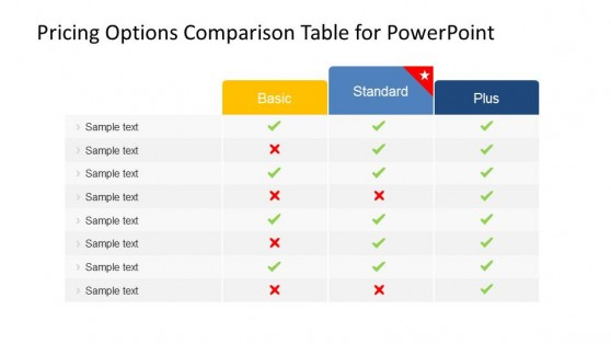 Product Plans and Pricing Comparison PowerPoint Table