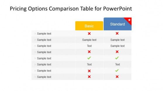 Two Product Pricing Plans Comparison Table