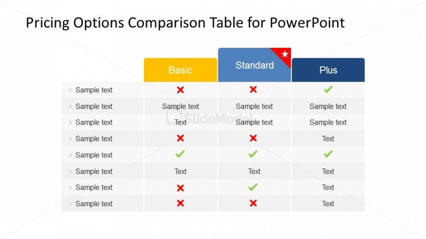 Plans and Pricing PowerPoint table with Three Product Columns