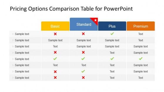 Four columns Pricing Comparison PowerPoint Table