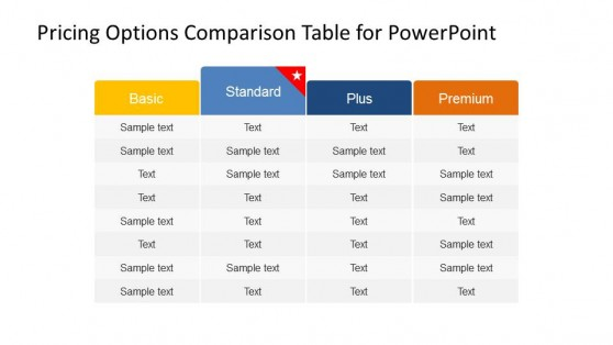 Plans and Pricing Comparison PowerPoint Table