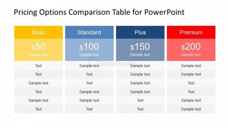 Professional plans and pricing powerpoint table slidemodel for Table options