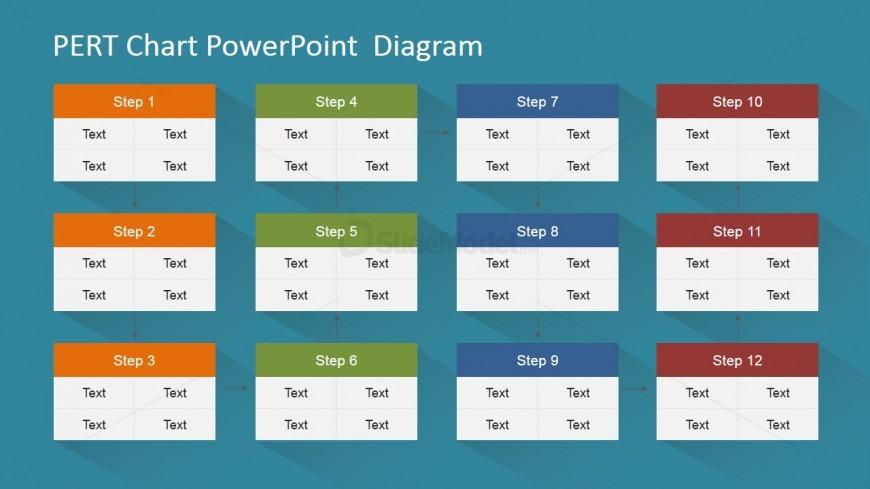 PowerPoint PERT Diagram Twelve Nodes