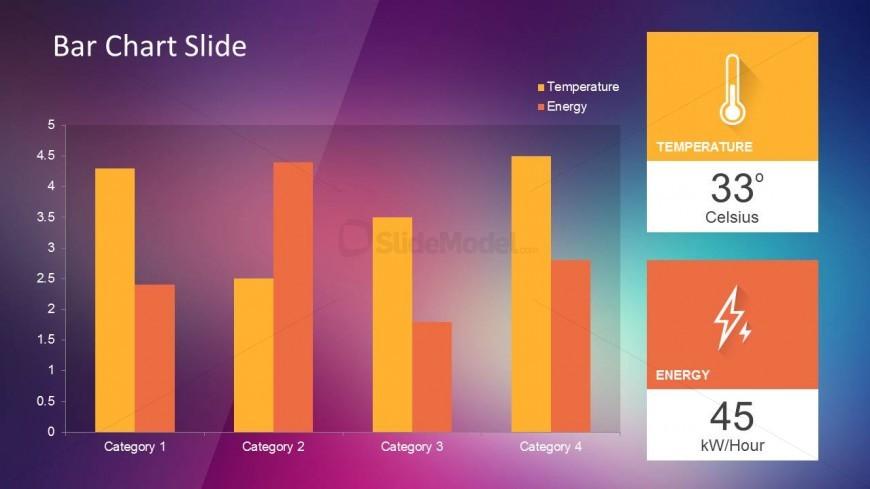 Bar Chart Slide Design with Violet Background and KPI indicators