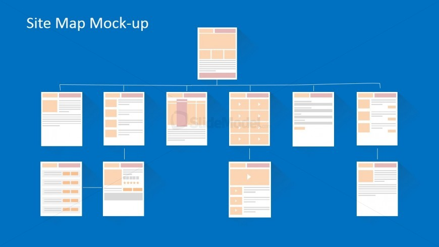 Flat Ecommerce Website Wireframe Site Map Blueprint