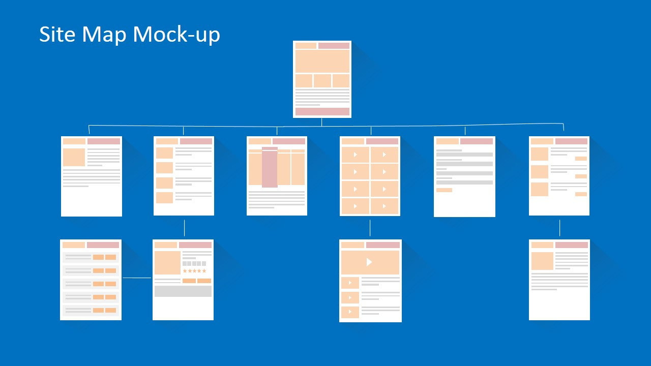 Navigation and site map model powerpoint mock up slidemodel for Powerpoint sitemap template