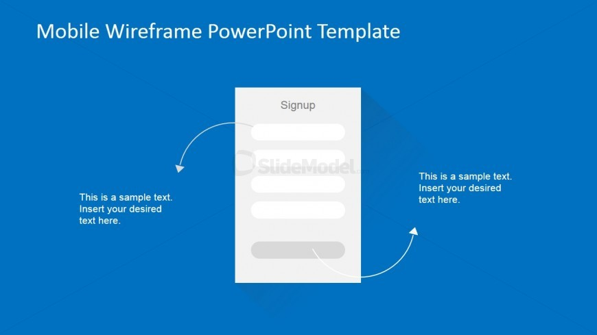 Sign up mobile mockup slide design slidemodel for Powerpoint wireframe template for ui design