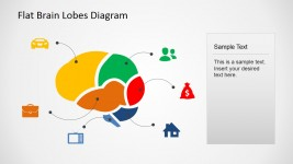 Brain Lobes Usage Cross Sectional Diagram with Icons