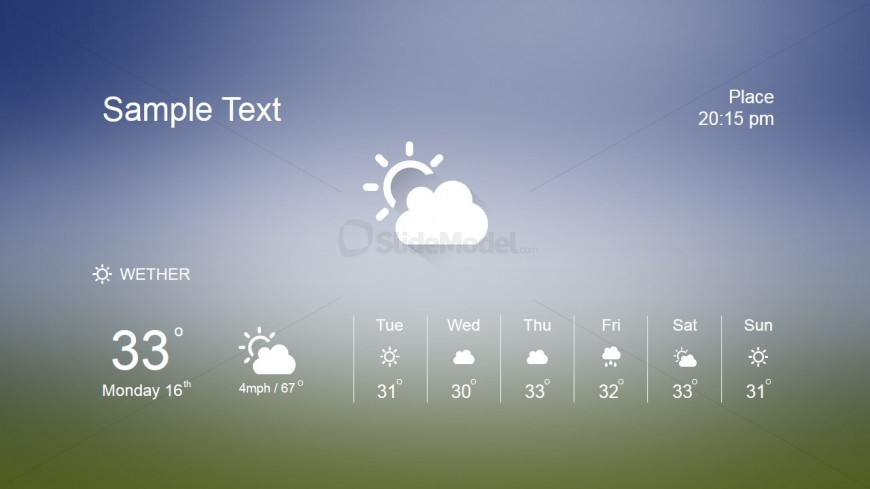 PowerPoint Slide with Weather Forecast Clip art