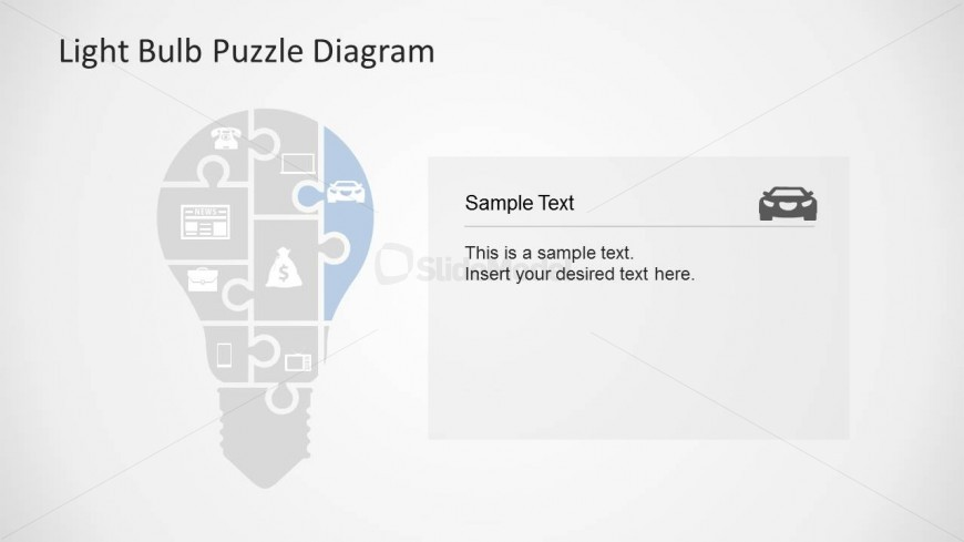 Light Bulb Puzzle Diagram Slide Design for PowerPoint