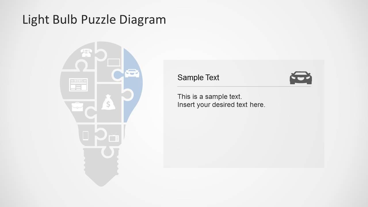 Light Bulb Puzzle Diagram Slide Design for PowerPoint