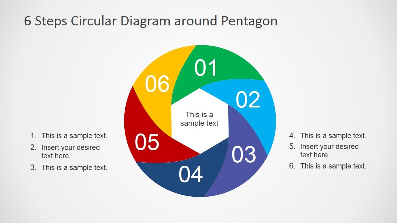 Circular Six Steps Flow Diagram Design