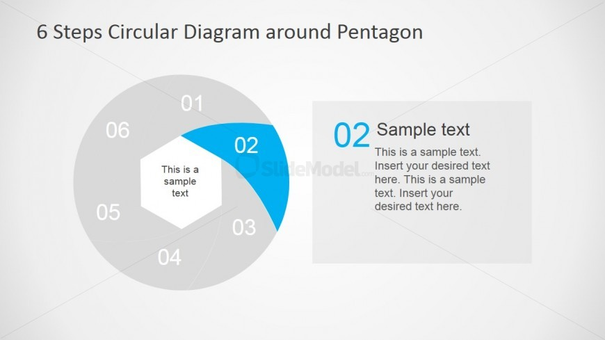 Modern Six Step Work Process Hexagon Flow Diagram