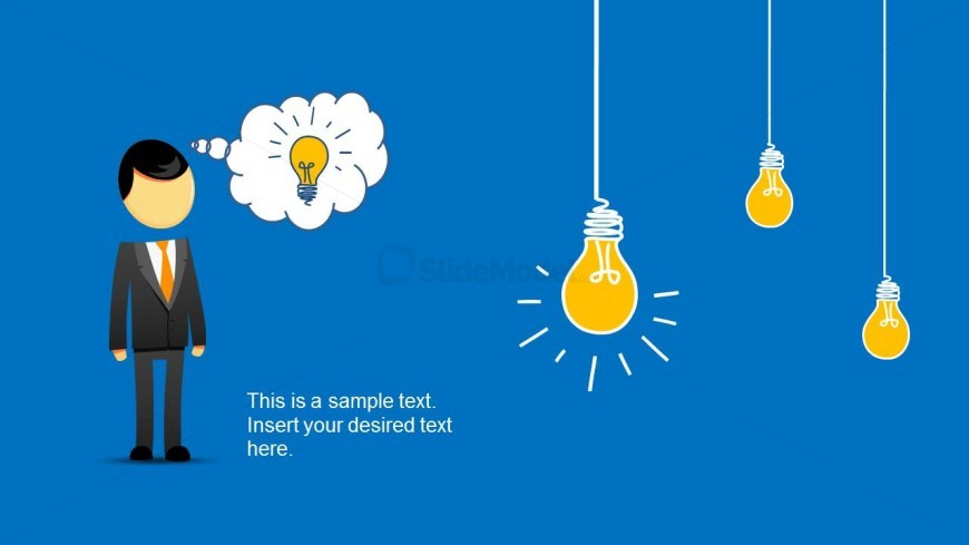 Creative Character Illustration with Hand-Drawn Light Bulb Shapes