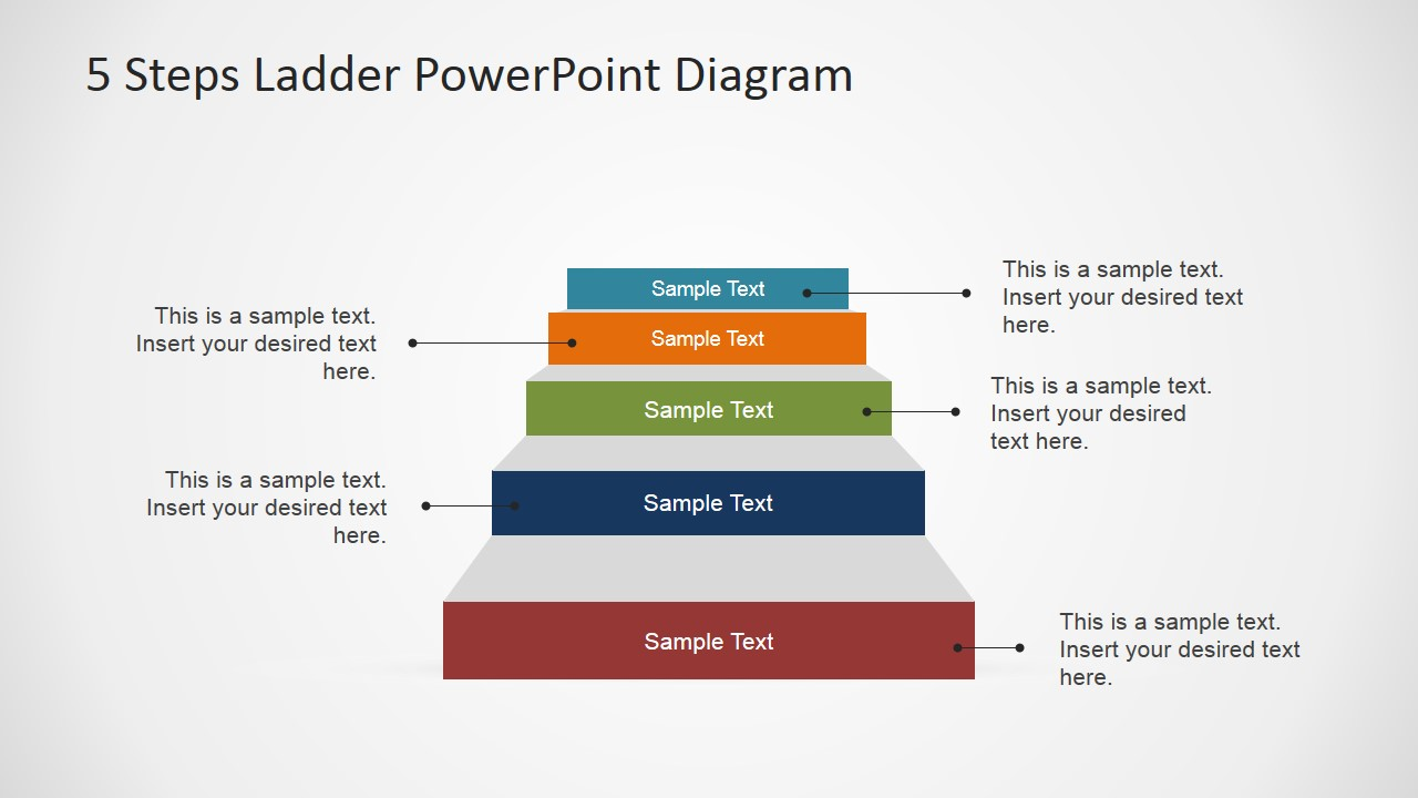 5 steps ladder powerpoint diagram - slidemodel diagram of shag steps