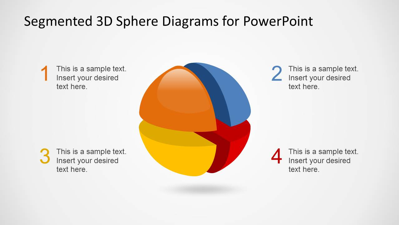 3d segmented spheres diagram template for powerpoint