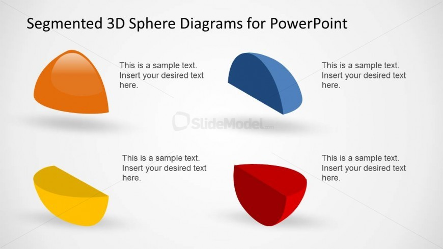 4 Isolated Sphere Parts in a PowerPoint Slide