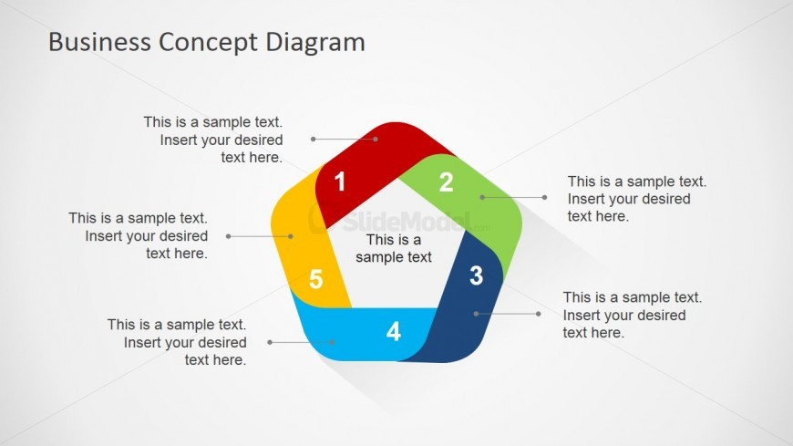 5 Step Business Concept Slide Design with Placeholders