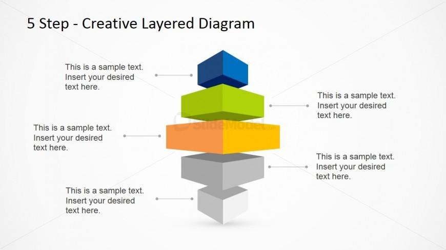 Vertical 5 Step Creative Layered Diagram