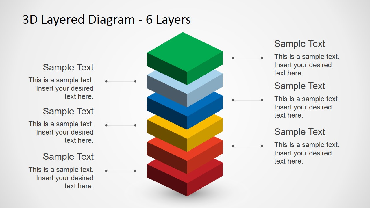 6 Levels 3d Layered Diagram For Powerpoint