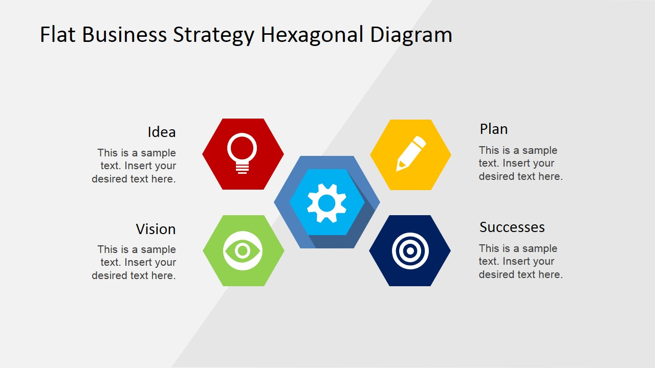 Flat business strategy hexagonal powerpoint diagram slidemodel powerpoint template for business strategy how to create a business plan presentation friedricerecipe Images