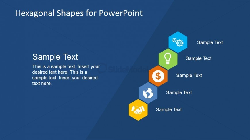 Diagonal Hexagon Shapes for PowerPoint