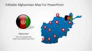 PowerPoint Flag Icon and Outline Map of Afghanistan