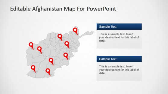 Political Outline Map of Afghanistan with GPS Markers and Textbox