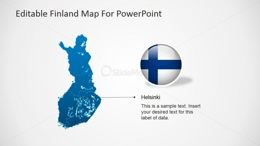 Finland Map Template for PowerPoint & Flag