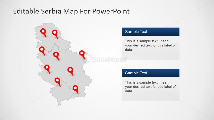 Map of Serbia With Major Cities and GPS Marker Icons