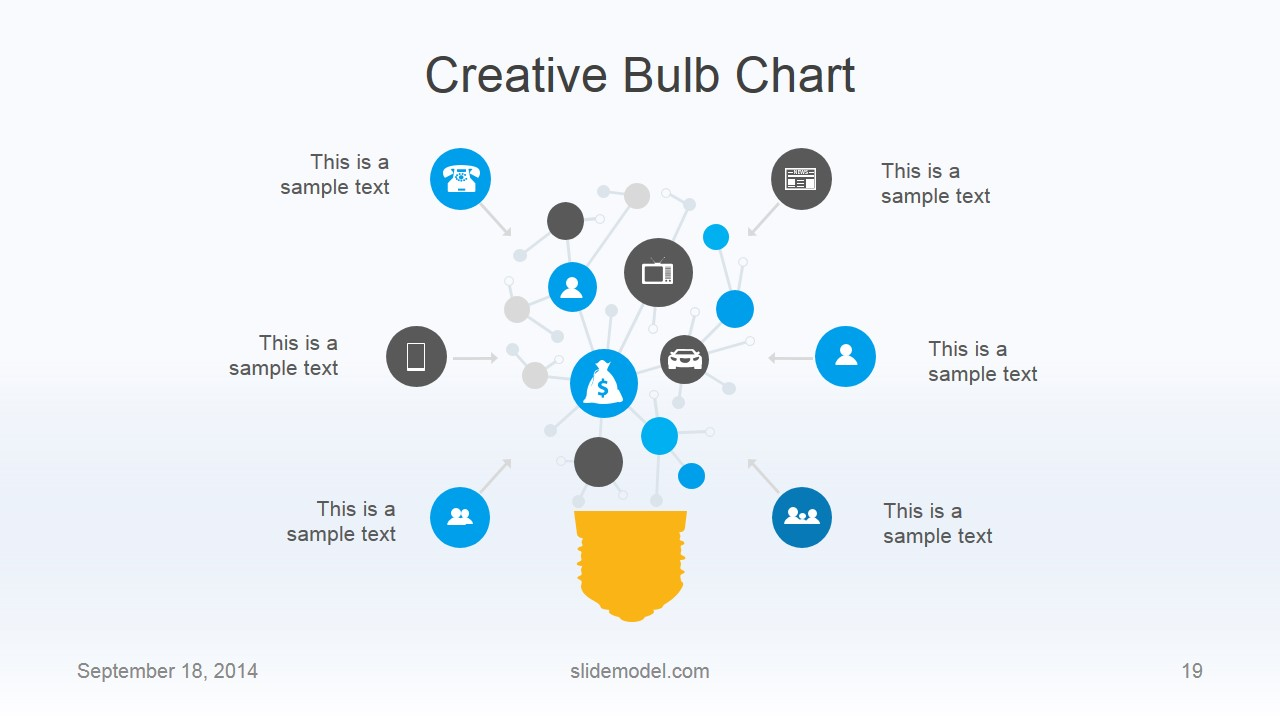 Flat Business Creative Light Bulb Chart for PowerPoint