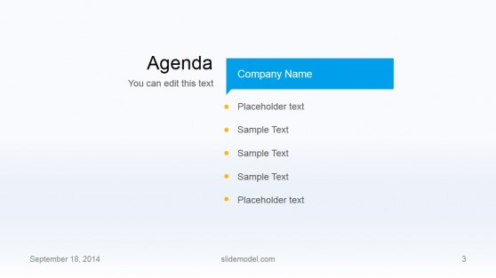 Flat Business Template Agenda Slide Design