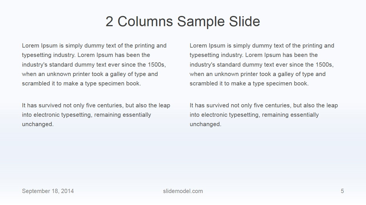 Flat Business 2 Columns Slide Design