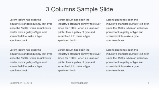 Flat Business 3 Columns Slide Design
