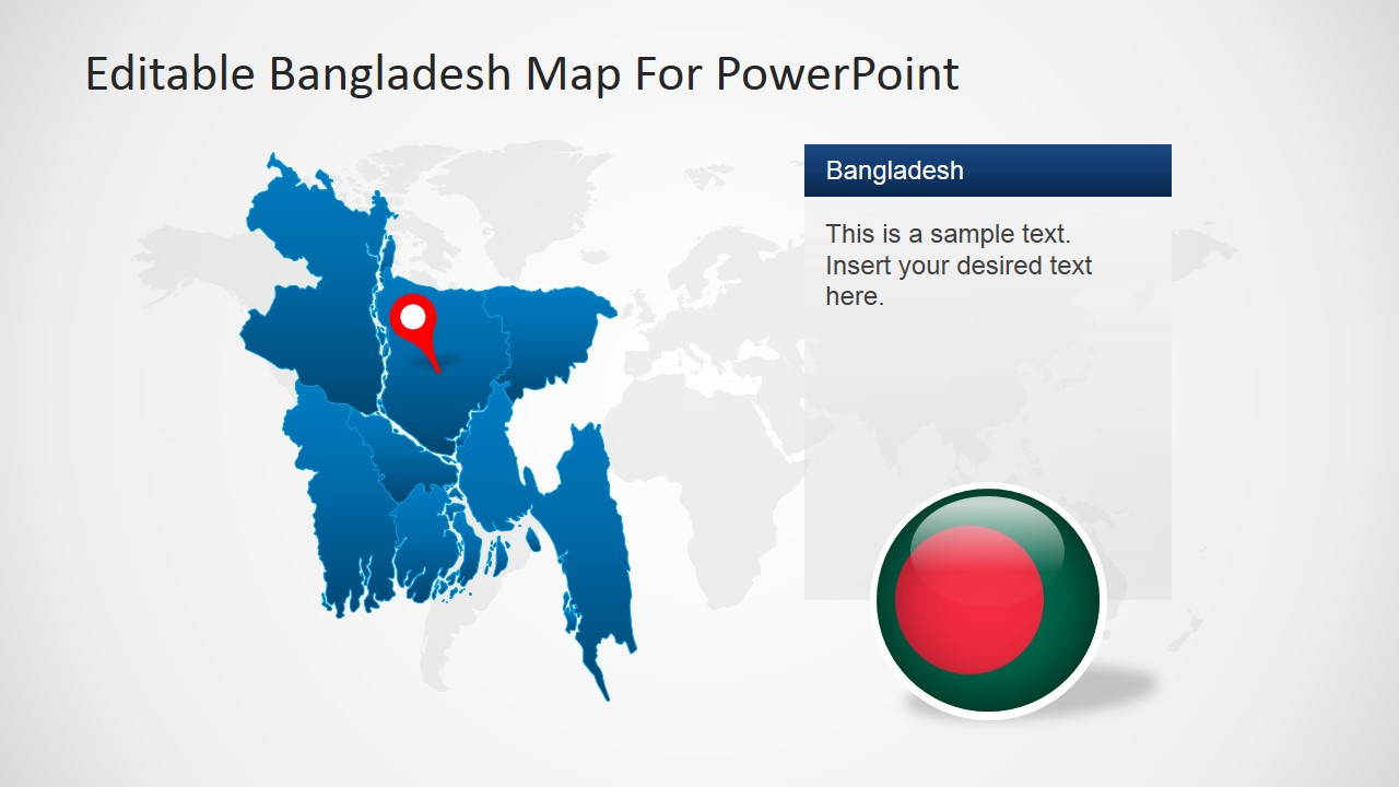Editable bangladesh powerpoint map slidemodel powerpoint world map background with bangladesh map gumiabroncs Gallery