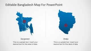 PowerPoint Map of Bangladesh with Dhaka Highlighted