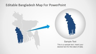 Map for PowerPoint Of Bangladesh with Khulna Region Highlighted