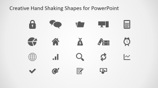 Flat Hand Shaking Icons for PowerPoint