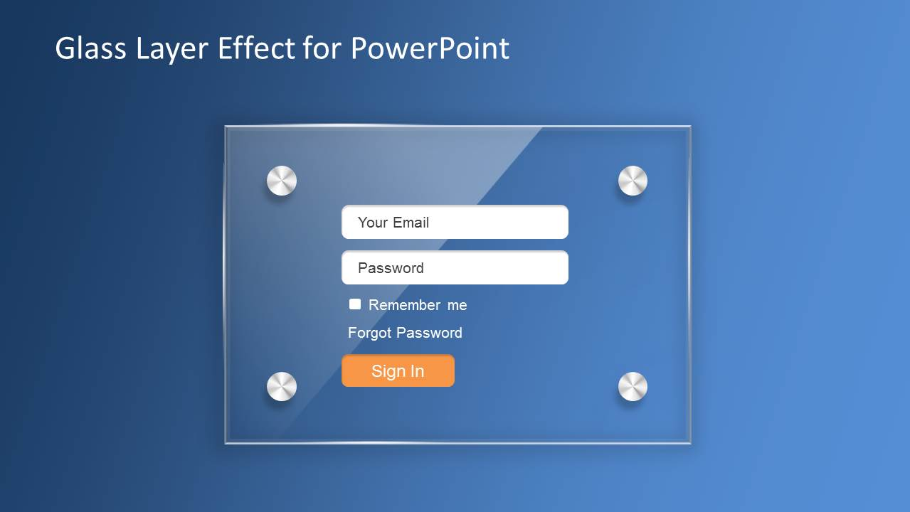 Glass Effect Login Slide Design for PowerPoint