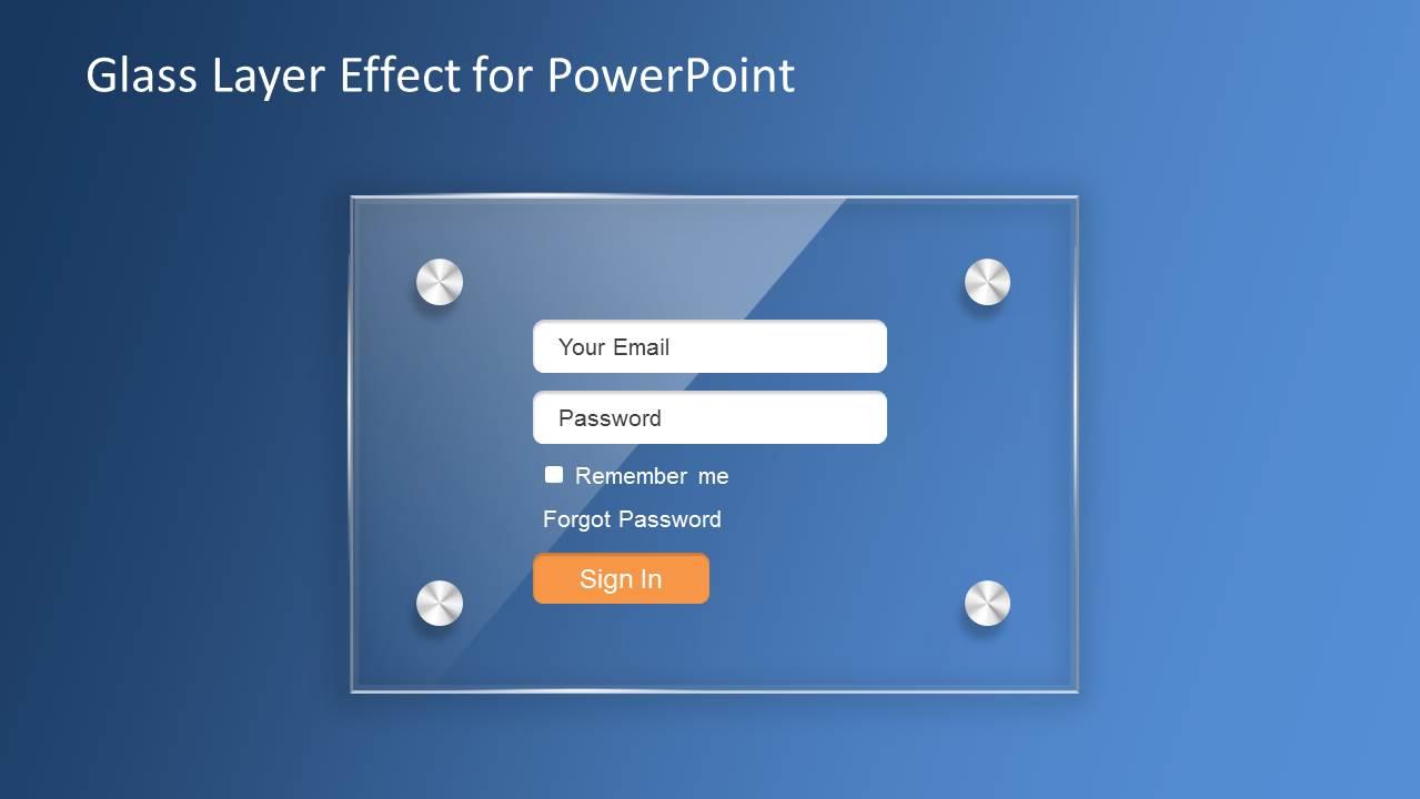 Glass layer effect powerpoint template slidemodel glass effect login slide design for powerpoint toneelgroepblik Gallery