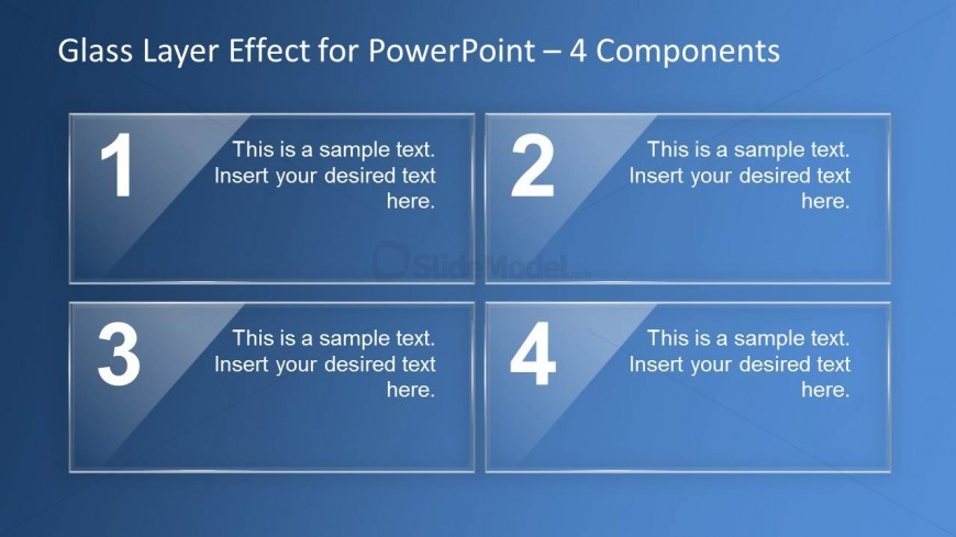 Glass Effect PowerPoint Slide Design - 4 Components