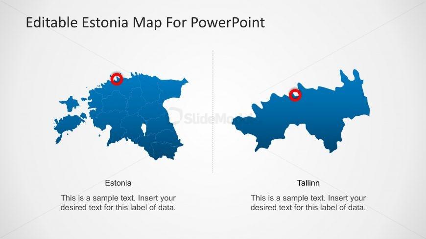 Estonia Editable PowerPoint Map with Capital City Marker